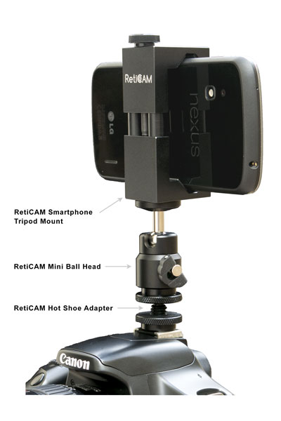 RetiCAM Smartphone Tripod Mount with Ball Head and Hot Shoe Adapter